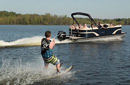 Boating with skier